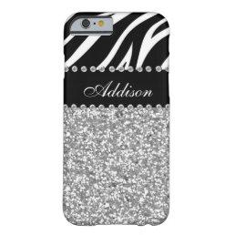 Black Glitter Zebra Rhinestone Girly Case