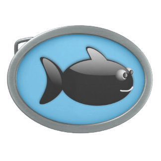 BLACK GLOSS CARTOON FISH vector rounded graphics Belt Buckles