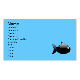 BLACK GLOSS CARTOON FISH vector rounded graphics Business Cards