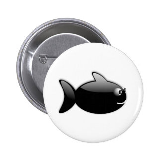 BLACK GLOSS CARTOON FISH vector rounded graphics Pinback Buttons