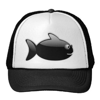 BLACK GLOSS CARTOON FISH vector rounded graphics Trucker Hat