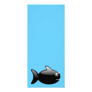 BLACK GLOSS CARTOON FISH vector rounded graphics Rack Card