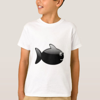 BLACK GLOSS CARTOON FISH vector rounded graphics T-Shirt