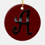 Black Gloss Monogram - A Double-Sided Ceramic Round Christmas Ornament