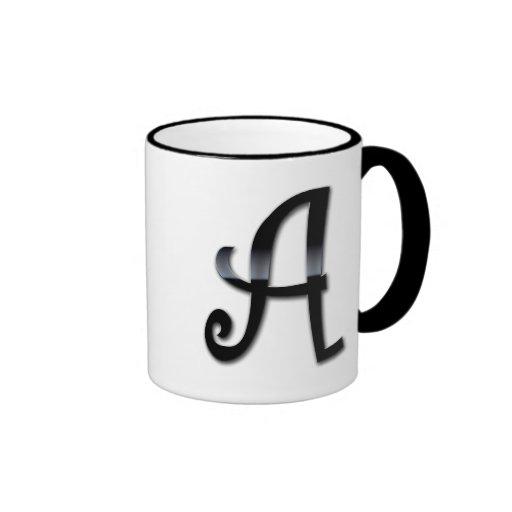 Black Gloss Monogram - A Ringer Mug