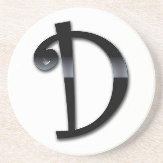Black Gloss Monogram - D Drink Coaster