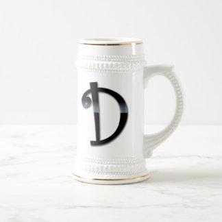 Black Gloss Monogram - D Coffee Mugs