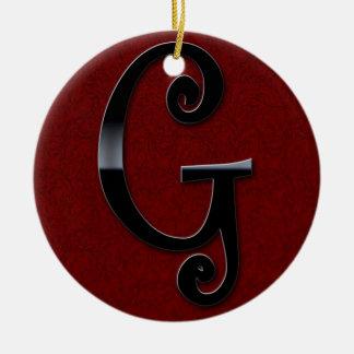 Black Gloss Monogram - G Ceramic Ornament