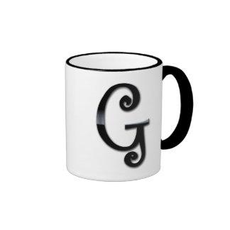Black Gloss Monogram - G Coffee Mugs