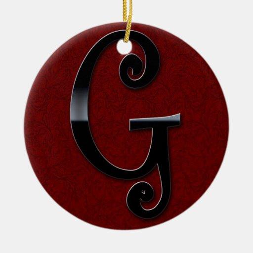 Black Gloss Monogram - G Double-Sided Ceramic Round Christmas Ornament