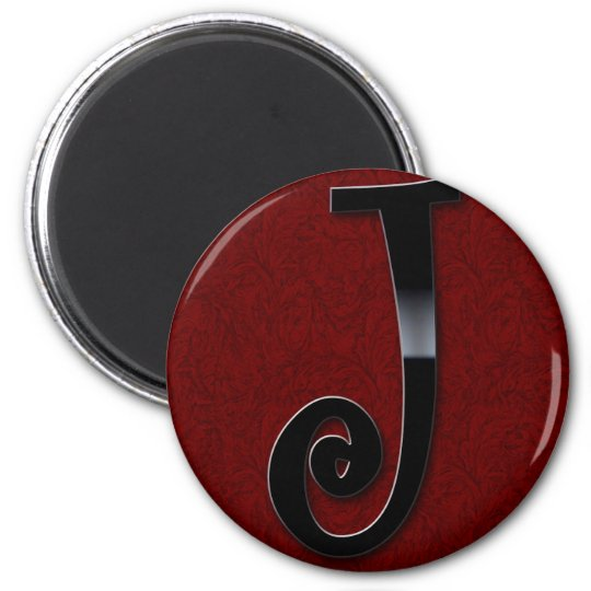 Black Gloss Monogram - J Magnet