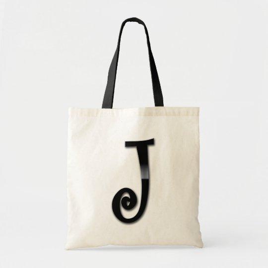 Black Gloss Monogram - J Tote Bag
