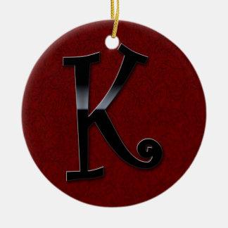 Black Gloss Monogram - K Ceramic Ornament