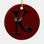 Black Gloss Monogram - K Double-Sided Ceramic Round Christmas Ornament