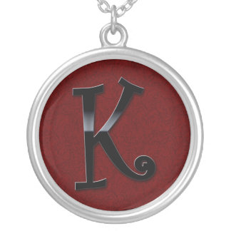 Black Gloss Monogram - K Round Pendant Necklace
