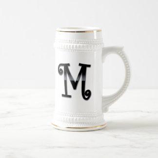 Black Gloss Monogram - M Coffee Mugs
