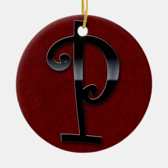 Black Gloss Monogram - P Ceramic Ornament