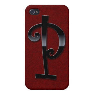 Black Gloss Monogram - P iPhone 4/4S Case