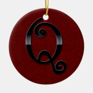 Black Gloss Monogram - Q Ceramic Ornament
