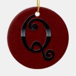 Black Gloss Monogram - Q Christmas Ornaments