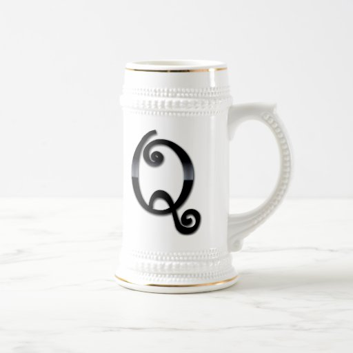 Black Gloss Monogram - Q Coffee Mugs