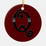 Black Gloss Monogram - Q Double-Sided Ceramic Round Christmas Ornament