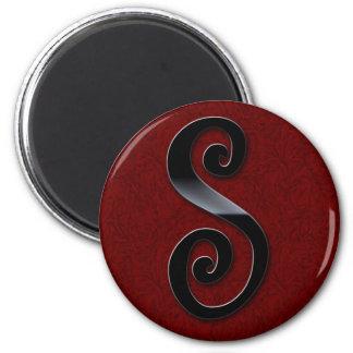 Black Gloss Monogram - S 2 Inch Round Magnet