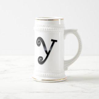 Black Gloss Monogram - Y Coffee Mugs