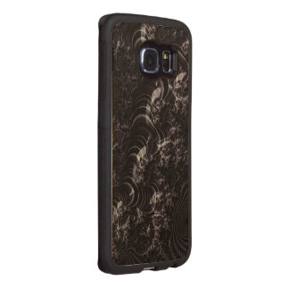 Black Glossy Fractal Art Wood Phone Case