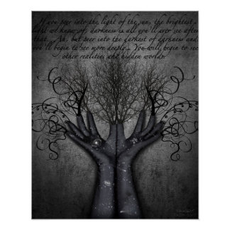 Black Gloves Galaxies Reaching Hand Vases Darkness Poster
