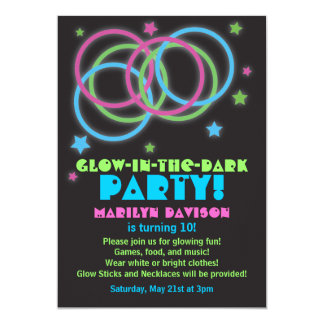 Black Glow in the Dark Rings Party Invitations