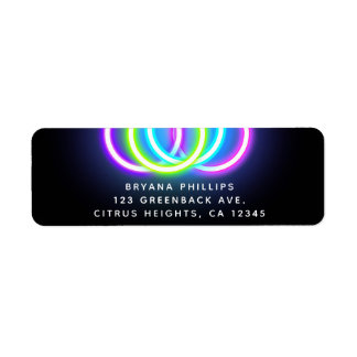 Black Glow Party Neon Lights Birthday Party Label