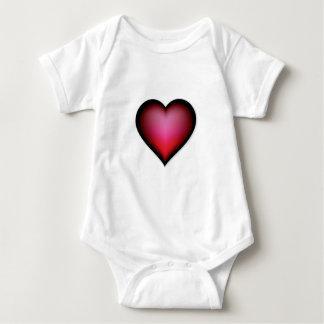 BLACK GLOWING RED HEART SHAPE LOVE GRAPHICS BABY BODYSUIT