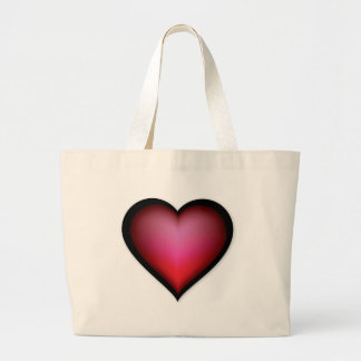 BLACK GLOWING RED HEART SHAPE LOVE GRAPHICS LARGE TOTE BAG