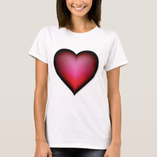 BLACK GLOWING RED HEART SHAPE LOVE GRAPHICS T-Shirt