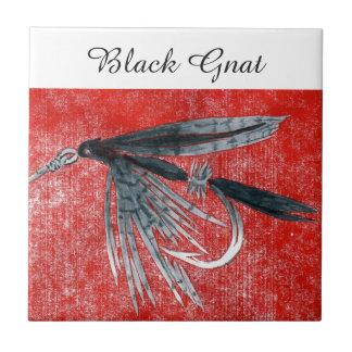 """Black Gnat"" wet fly tile. Tile"