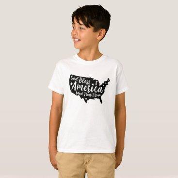 USA Themed Black God Bless America Patriotic T-Shirt