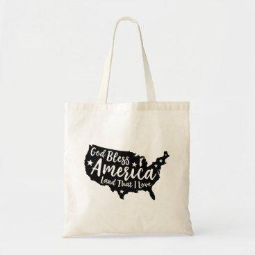USA Themed Black God Bless America Travel Tote