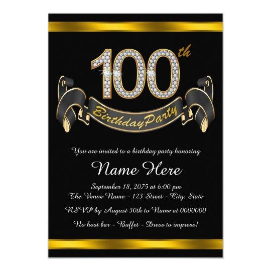 black gold 100th birthday party invitation zazzle com