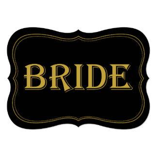 Black & Gold 1920's Gatsby Wedding Bride Sign 5x7 Paper Invitation Card