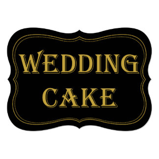 Black & Gold 1920's Gatsby Wedding Cake Sign Card