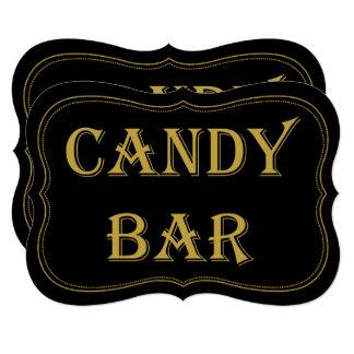 Black & Gold 1920's Gatsby Wedding Candy Bar Sign Card