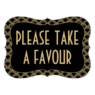 Black & Gold 1920's Gatsby Wedding Favour Sign Card