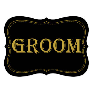 Black & Gold 1920's Gatsby Wedding Groom Sign Card