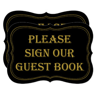 Black & Gold 1920's Gatsby Wedding Guest Book Sign Card
