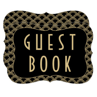 Black & Gold 1920's Gatsby Wedding Guestbook Sign Card