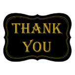 Black & Gold 1920's Gatsby Wedding Thank You Sign Card