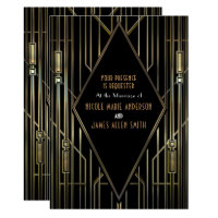 Black & Gold 20's Art Deco Gatsby Glam Wedding Card