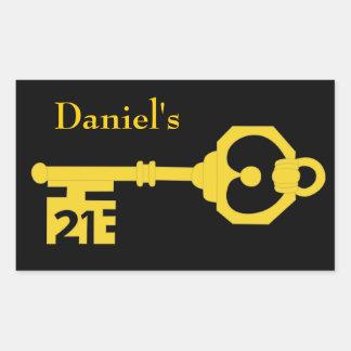 Black Gold 21st Birthday Party Key Oval Sticker