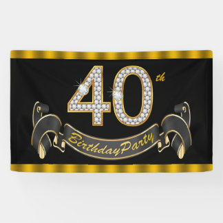 Black Gold 40th Birthday Party Banner